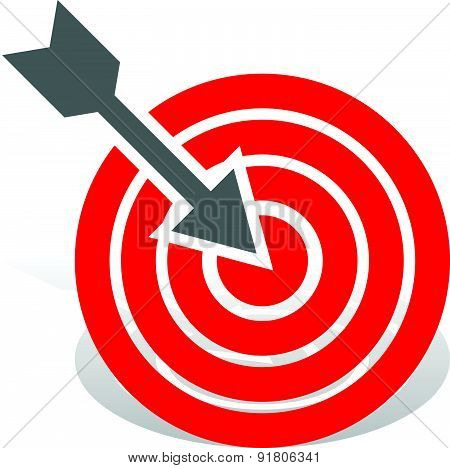 Arrow In Red Target. Precision, Bullseye, Accuracy, Goals, Success Concept. Vector Icon.