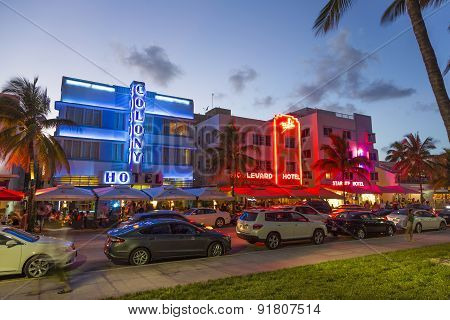Palm Trees And Art Deco Hotels At Ocean Drive