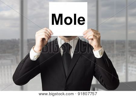 Businessman Hiding Face Behind Sign Mole