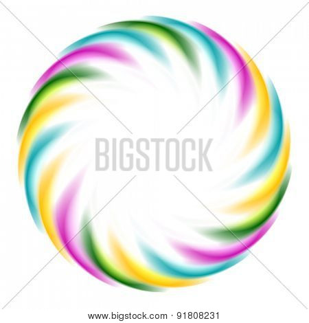 Colorful iridescent round logo on white background. Vector art design