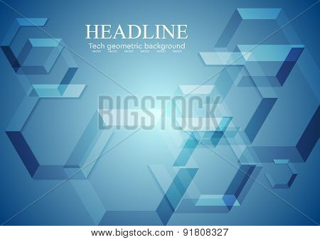 Hi-tech blue geometric background. Vector design