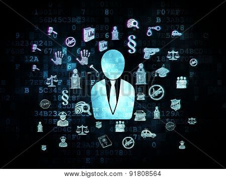 Law concept: Business Man on Digital background