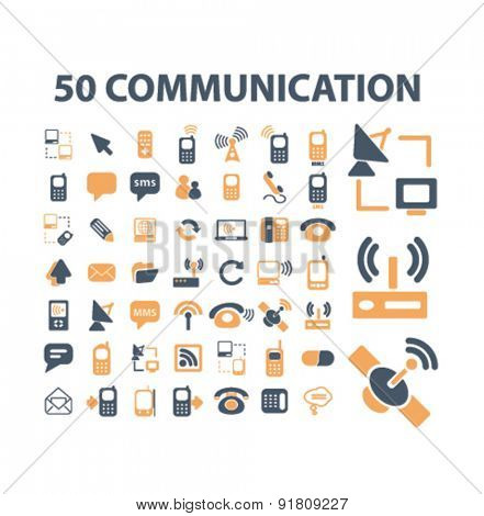 50 communication icons, signs, illustrations set, vector