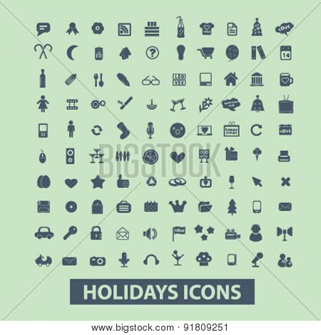 holidays, events, party icons, signs, illustrations set, vector