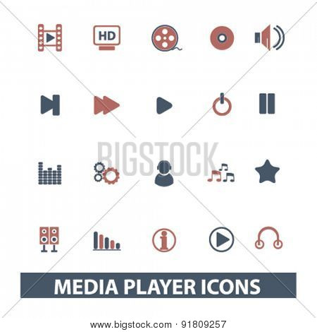 media player, music icons, signs, illustrations set, vector