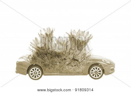 Double-exposure ,save The World Concept Of Car And Plant