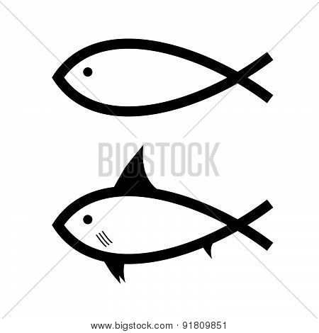 Fish Black And White Vector