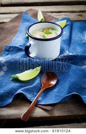 Traditional finnish salmon soup in mug