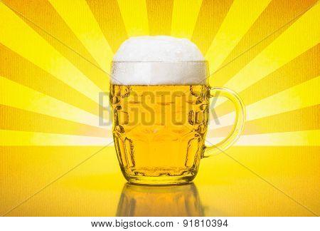 Olf Fashioned Mug With Fresh, Foamy Beer