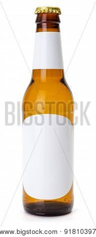 Brown Beer Bottle With White Blank Labels