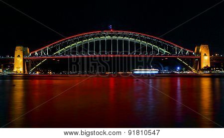 Sydney Harbour Bridge Ilights In Red For Vivid Sydney Festival