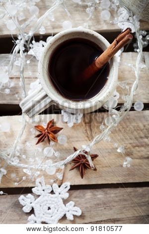 Mulled wine, traditional hot Christmas drink