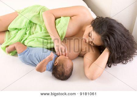 Ethnic Hispanic Mother Breastfeeding Her Son
