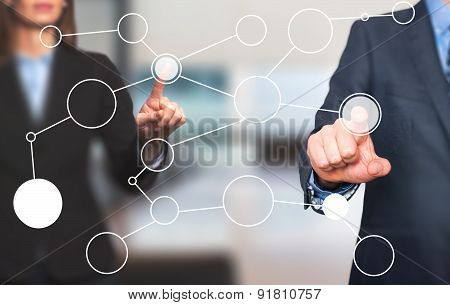 business man and women hand drawing blank flow chart