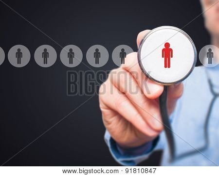 Man hiring personnel. Man hand with stethoscope.