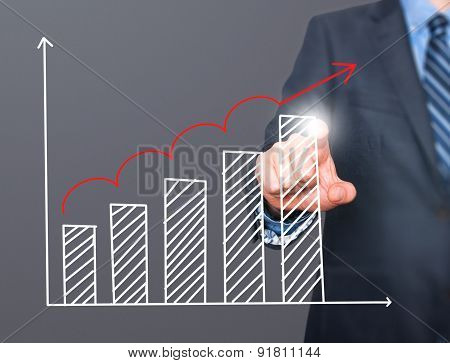 Businessman hand drawing growth graph on visual screen.