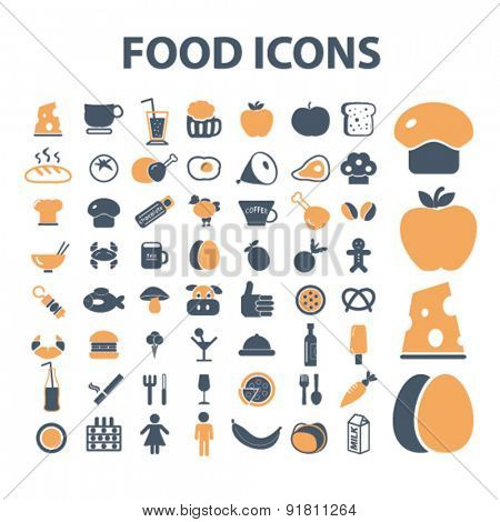 food, grocery icons, signs, illustrations set, vector
