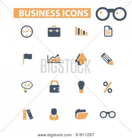 business icons, signs, illustrations set, vector