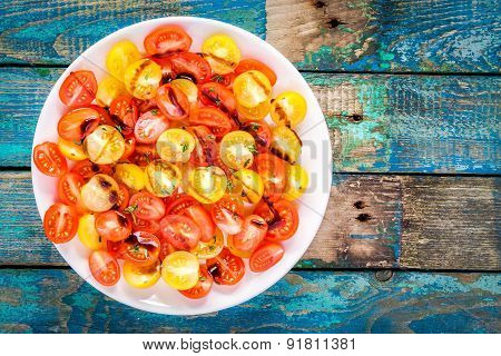 Salad Of Organic Cherry Tomatoes With Olive Oil And Balsamic Sauce