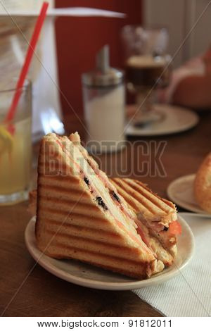 Grilled Ham and Cheese Sandwich Mean With Drink