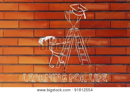 Girl Going Up A Ladder To Catch A Trophy With Graduation Cap