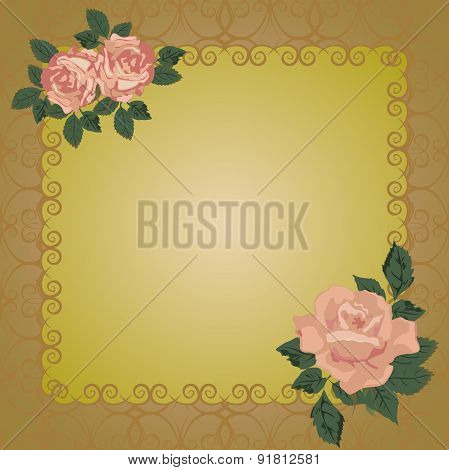 Vector frame with openwork background and roses.