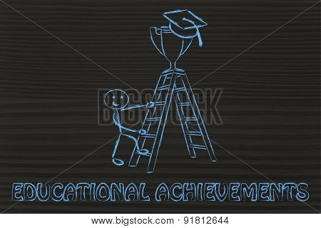 Educational Achievements, Boy About To Catch A Trophy With Graduation Cap