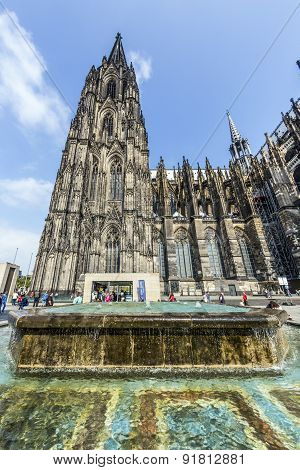People In Front Of The Cologne Cathedral In Cologne