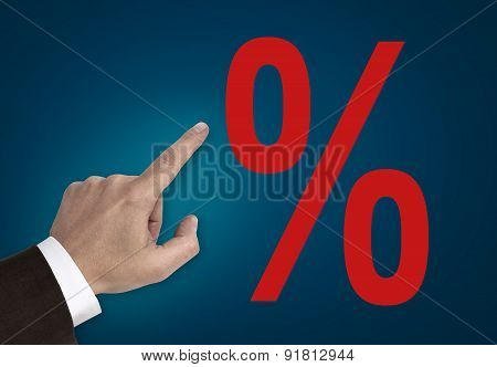 Hand Pointing On Percentage Sign Concept
