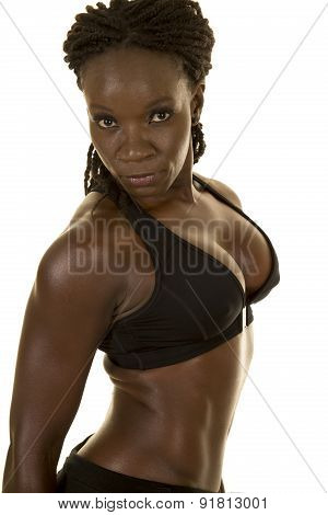 African American Woman Fitness Black Upper Body Side