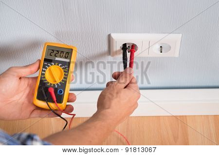 Person Hand Metering Socket Voltage