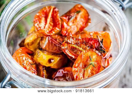 Sun-dried Yellow And Red Cherry Tomatoes With Olive Oil And Thyme
