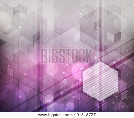 Background Of Hexagons, Lighting Effects, Blurred Light.  Modern Abstract Design.