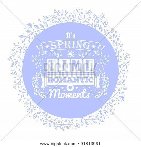 Blue Banner With Flower Ornaments And Vintage Typography Lettering