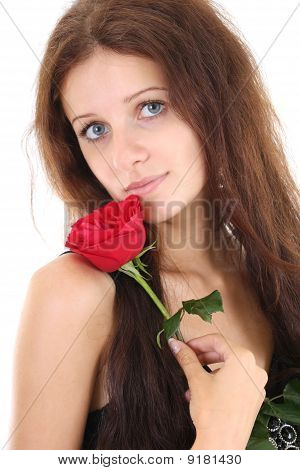 Portrait Of Girl With Red Rose