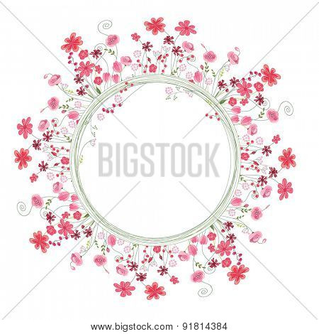 Detailed contour wreath with herbs and red flowers isolated on white. Round frame for your design, greeting cards, wedding announcements, posters.