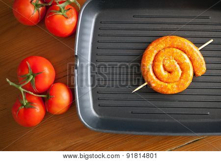 Chicken Sausages On A Grill Pan