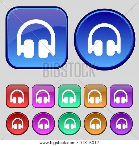 Headphones, Earphones Icon Sign. A Set Of Twelve Vintage Buttons For Your Design. Vector