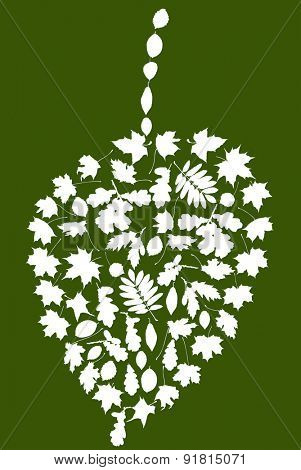illustration with abstract leaf formed from small leaves isolated on green background