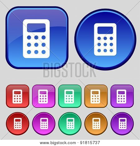 Calculator, Bookkeeping Icon Sign. A Set Of Twelve Vintage Buttons For Your Design. Vector