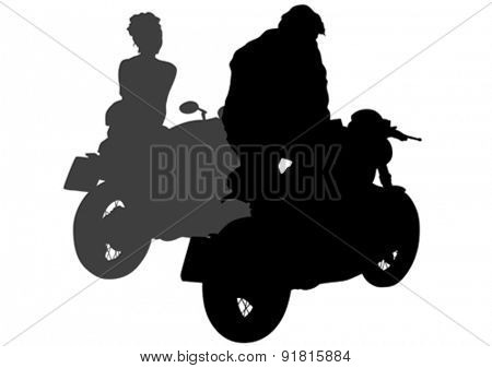 Couples people and sport bike on white background