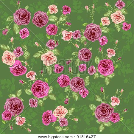 Floral seamless pattern. Vintage roses background