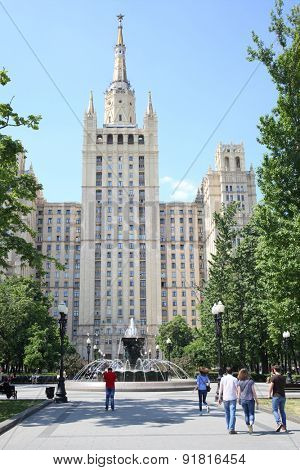 Residential building on Kudrinskaya Square in Moscow is made in Stalin empire style. It was built in 1948-1954