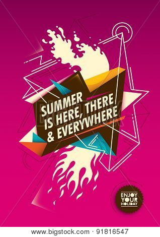 Summer poster with colorful abstraction. Vector illustration.