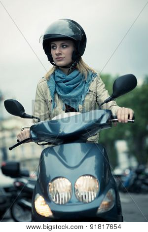 Girl on her scooter