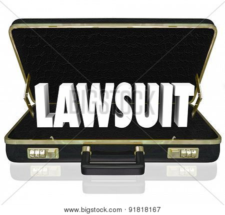 Lawsuit 3d word in a black leather briefcase to illustrate a legal court case before a judge or jury argued by a lawyer or attorney