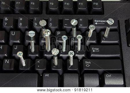 Computer Keyboard With Screws