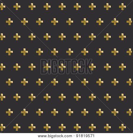 Golden cross seamless pattern background