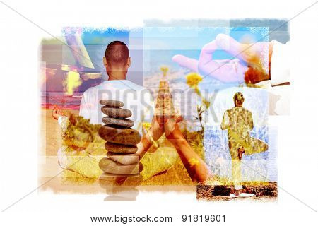 multiple exposures of a young yogi man in different yoga positions outdoors and a stack of balanced stones or a tibetan singing bowl