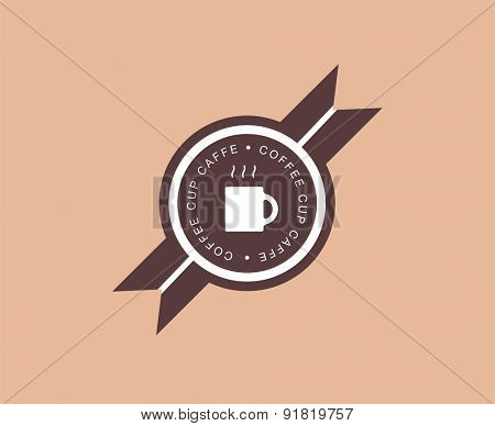 Abstract coffee logo design elements. Arrows, labels, symbols. Vector illustration